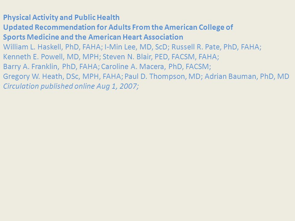 Physical Activity and Public Health