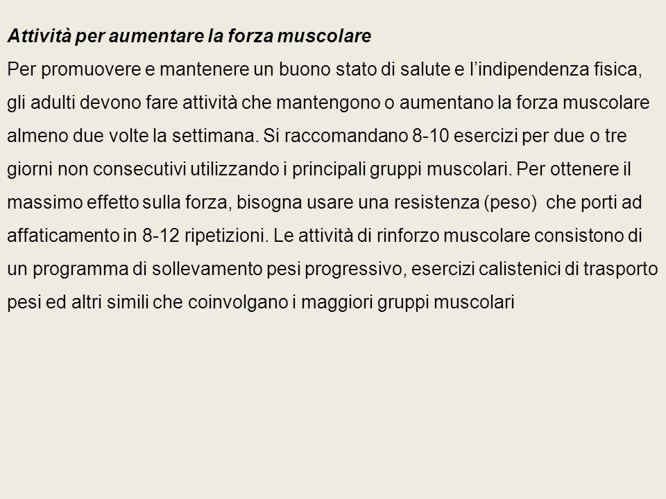 Attività per aumentare la forza muscolare