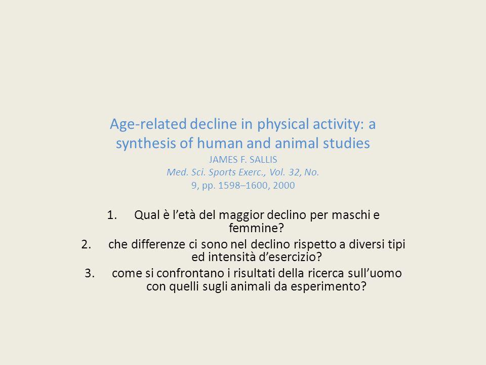 Qual è l'età del maggior declino per maschi e femmine