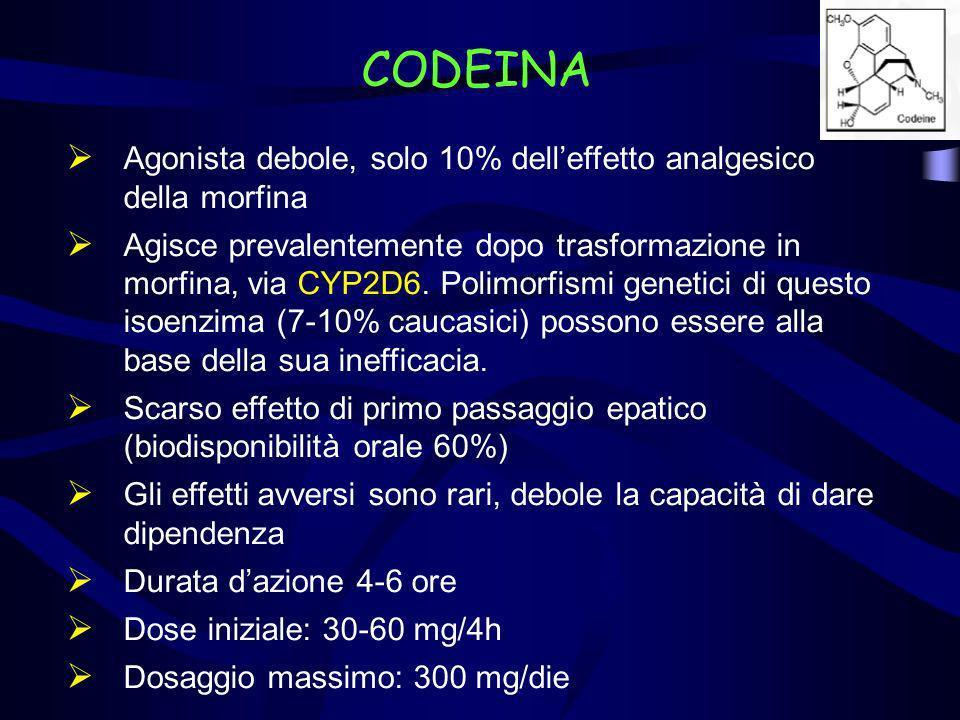 CODEINA Agonista debole, solo 10% dell'effetto analgesico della morfina.