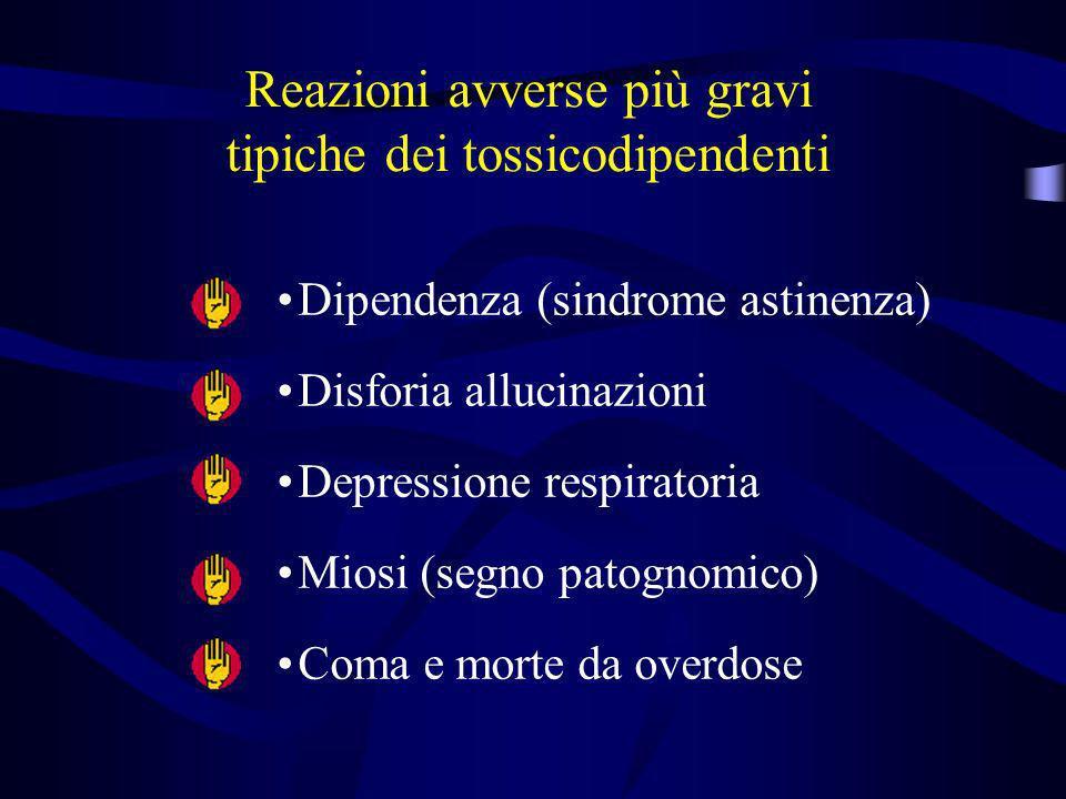 Reazioni avverse più gravi tipiche dei tossicodipendenti