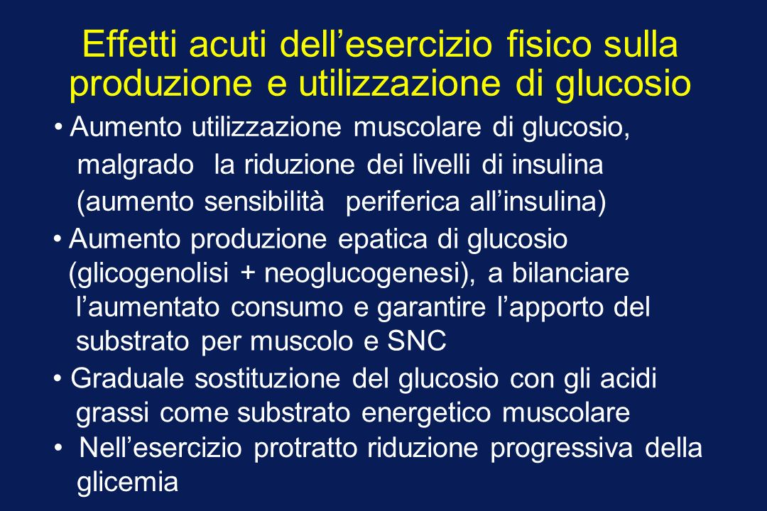 Effetti acuti dell'esercizio fisico sulla produzione e utilizzazione di glucosio