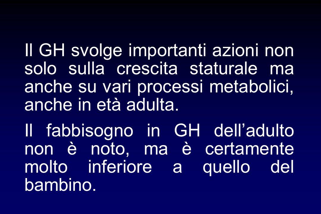 Il GH svolge importanti azioni non solo sulla crescita staturale ma anche su vari processi metabolici, anche in età adulta.