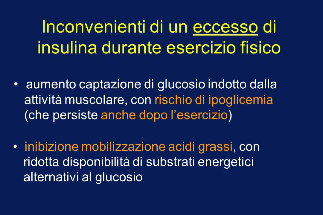 Inconvenienti di un eccesso di insulina durante esercizio fisico