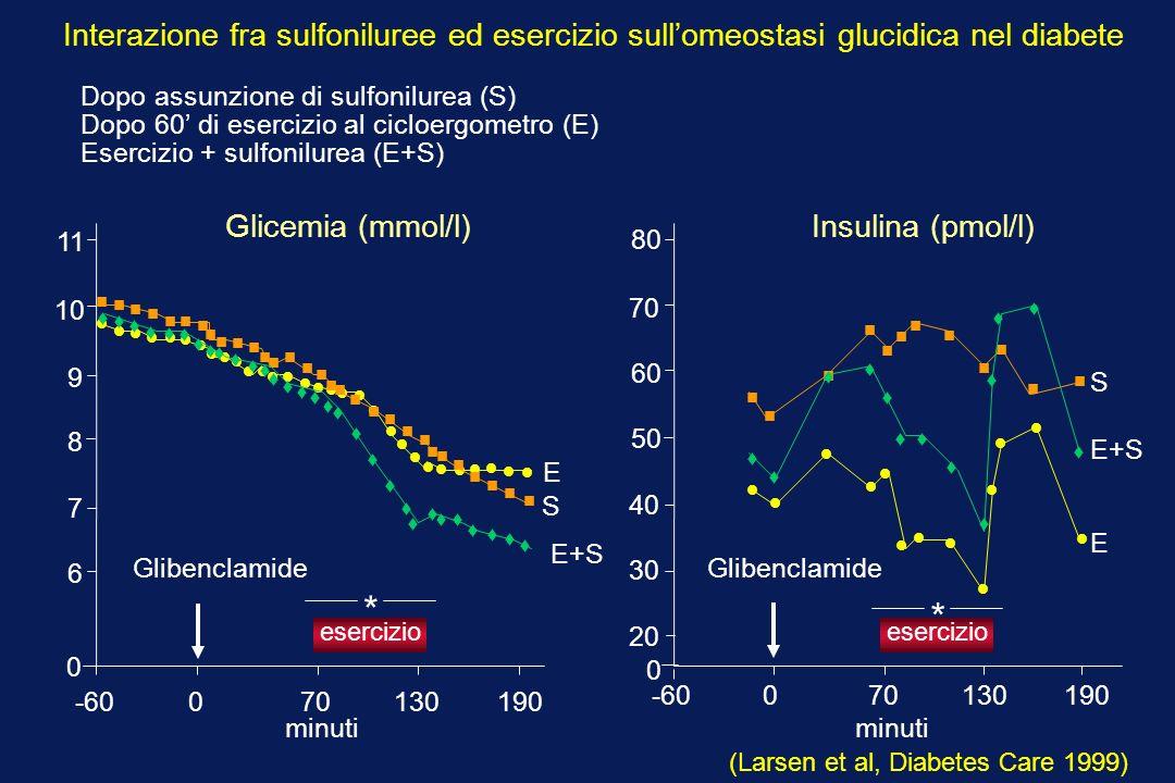 Interazione fra sulfoniluree ed esercizio sull'omeostasi glucidica nel diabete