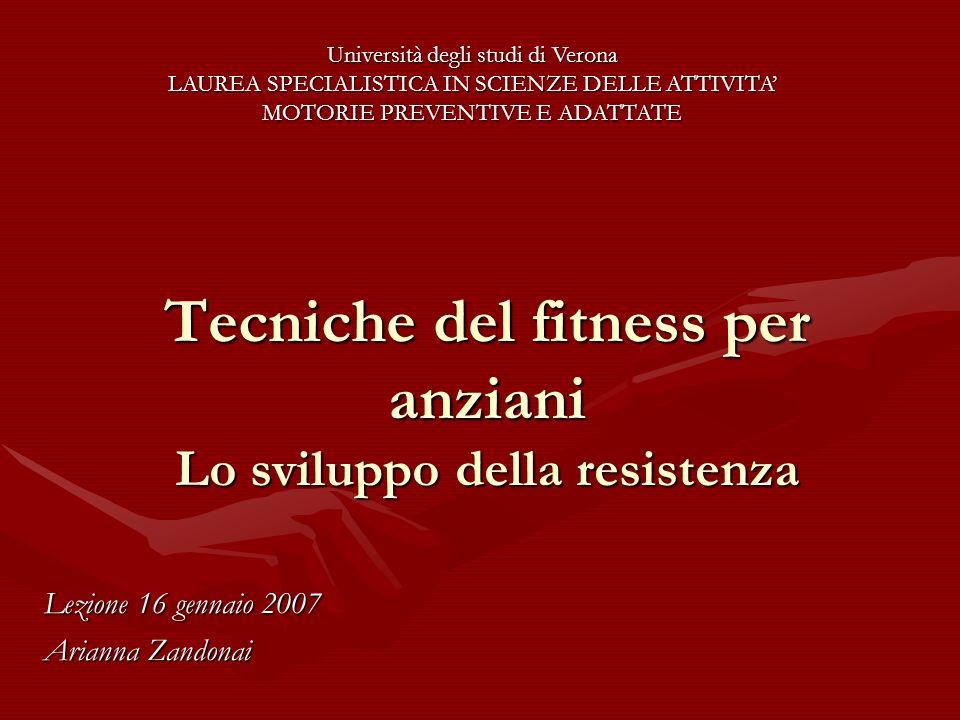 Tecniche del fitness per anziani Lo sviluppo della resistenza