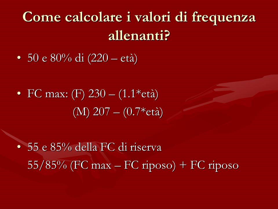 Come calcolare i valori di frequenza allenanti