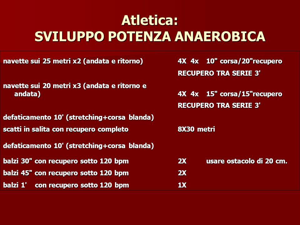 Atletica: SVILUPPO POTENZA ANAEROBICA