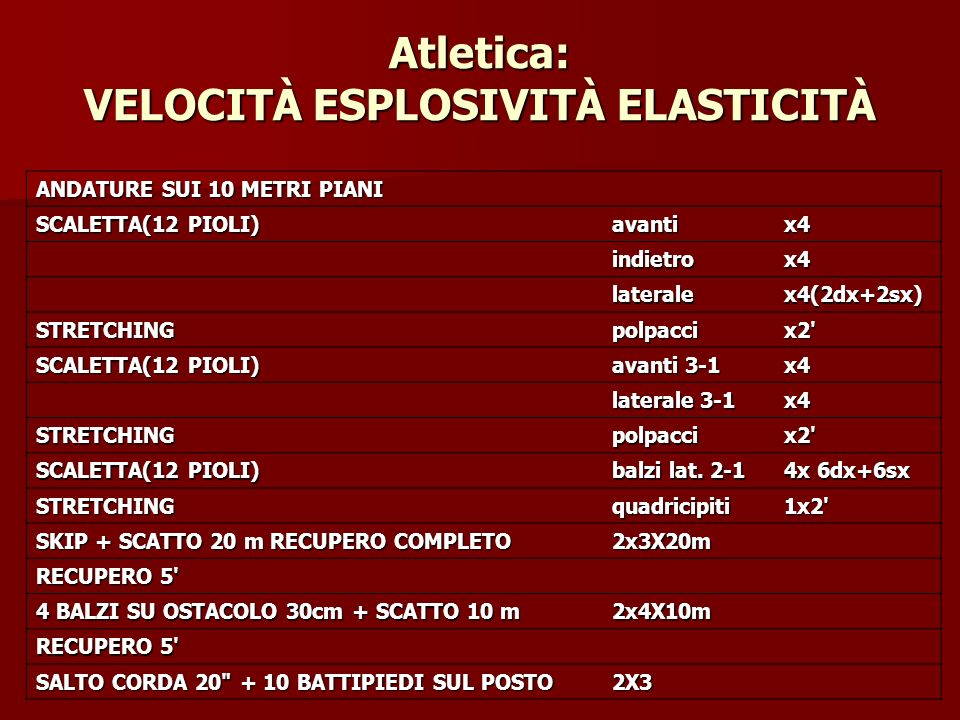 Atletica: VELOCITÀ ESPLOSIVITÀ ELASTICITÀ
