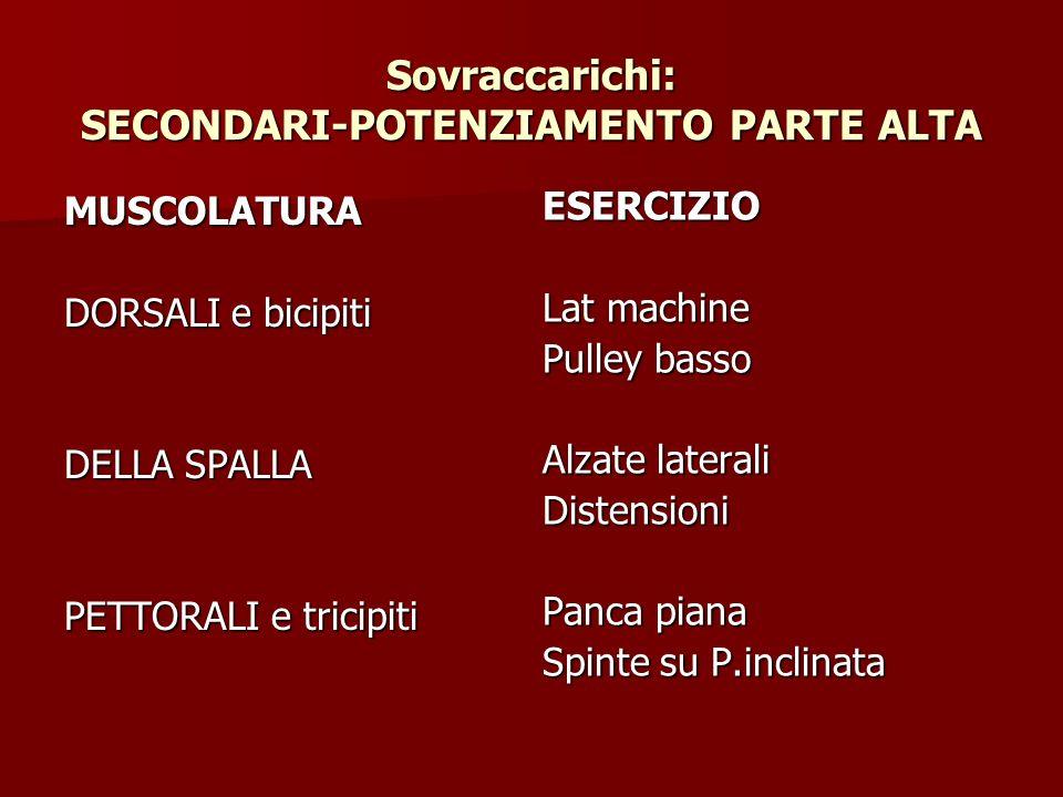 Sovraccarichi: SECONDARI-POTENZIAMENTO PARTE ALTA