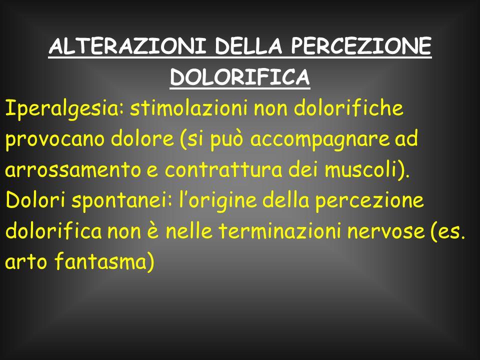 ALTERAZIONI DELLA PERCEZIONE DOLORIFICA
