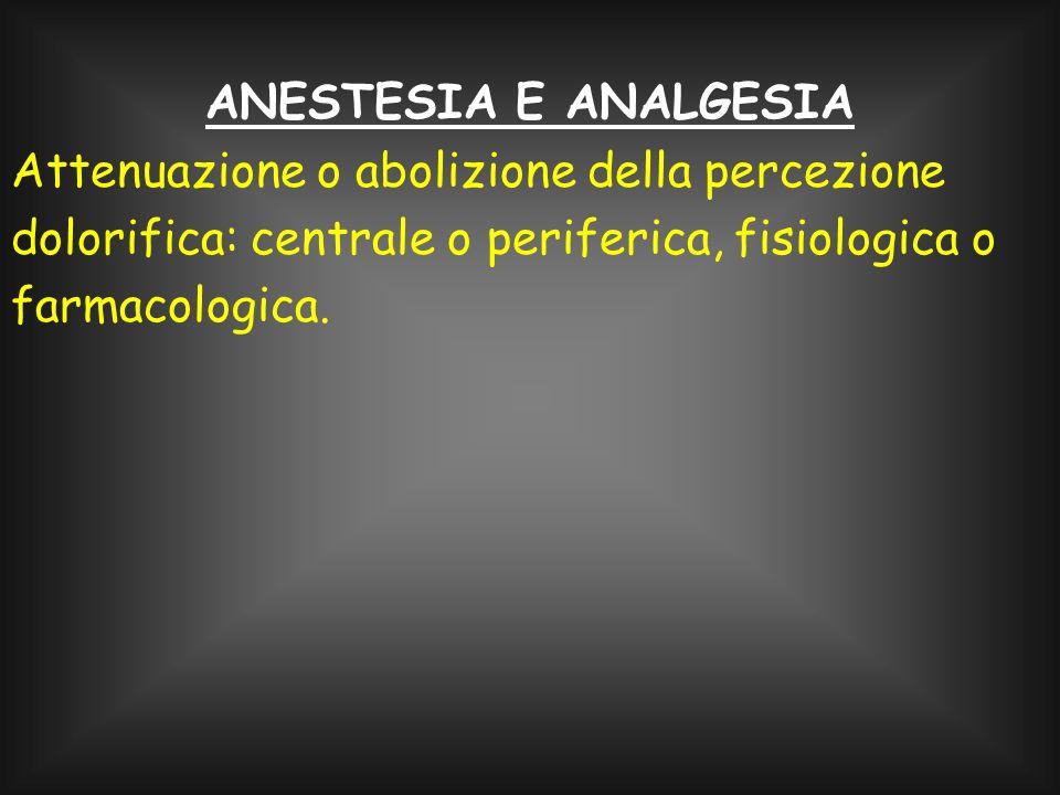 ANESTESIA E ANALGESIA Attenuazione o abolizione della percezione dolorifica: centrale o periferica, fisiologica o farmacologica.