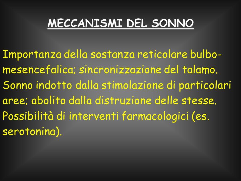 MECCANISMI DEL SONNO Importanza della sostanza reticolare bulbo-mesencefalica; sincronizzazione del talamo.