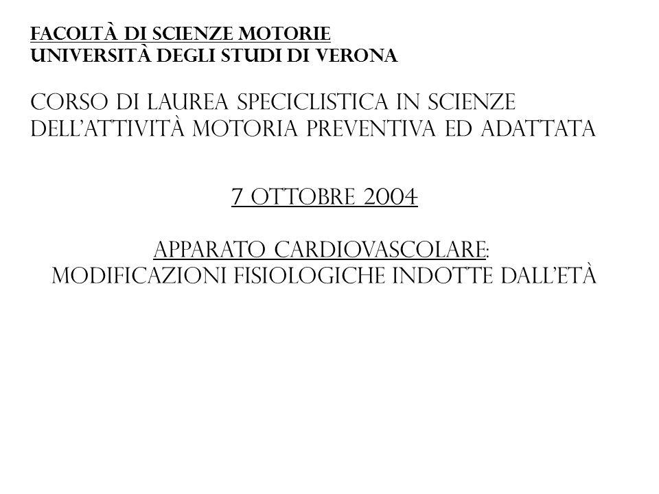 Apparato cardiovascolare: Modificazioni fisiologiche indotte dall'età