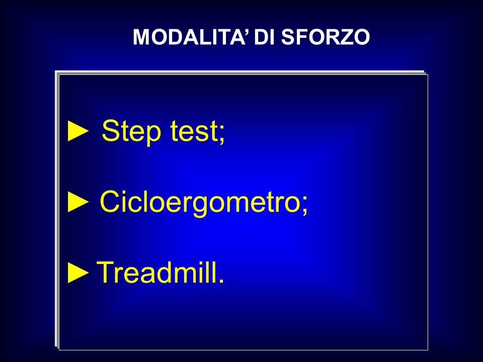 MODALITA' DI SFORZO ► Step test; ► Cicloergometro; ► Treadmill.