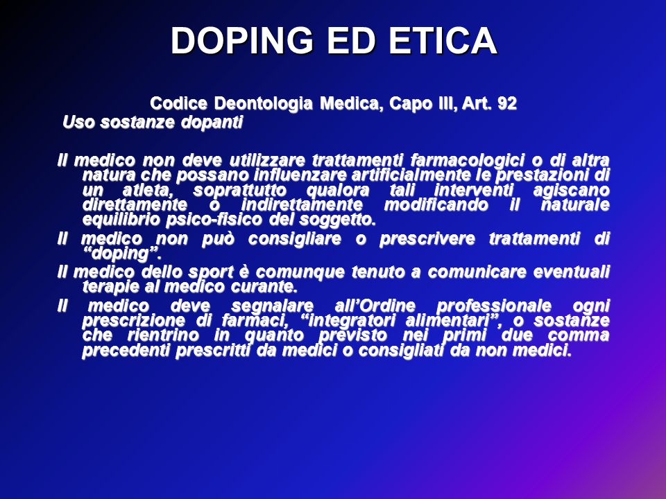 Codice Deontologia Medica, Capo III, Art. 92
