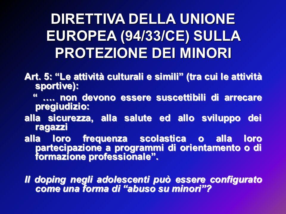DIRETTIVA DELLA UNIONE EUROPEA (94/33/CE) SULLA PROTEZIONE DEI MINORI