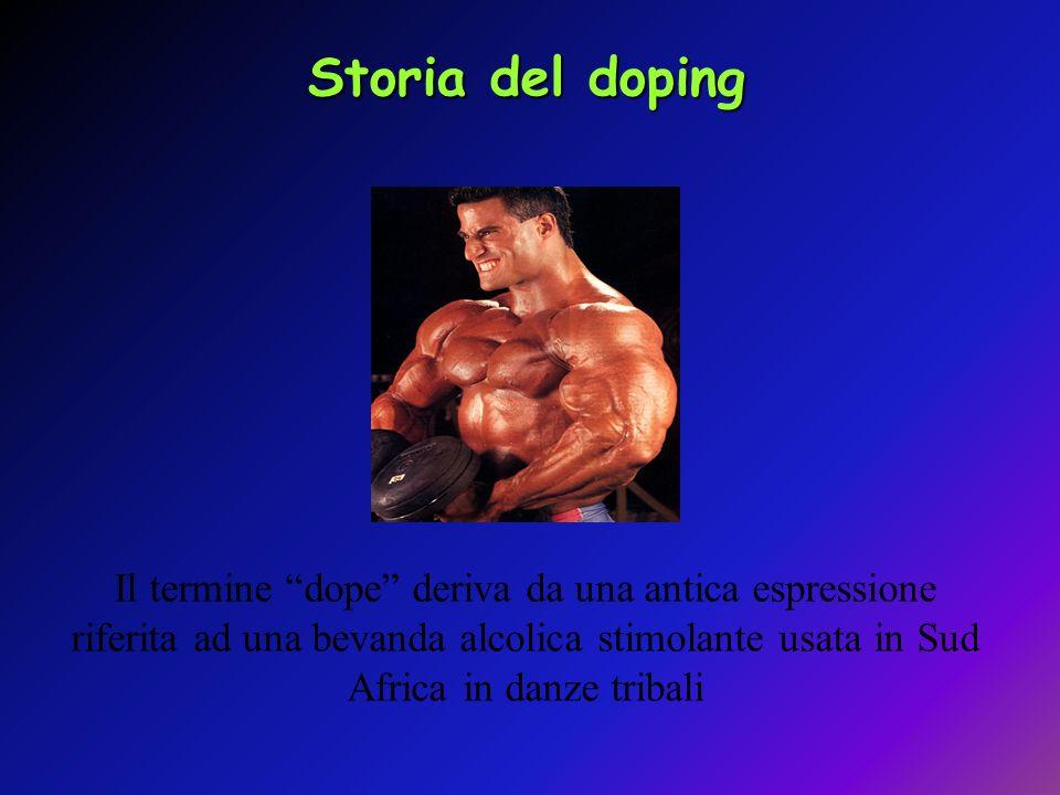 Storia del dopingIl termine dope deriva da una antica espressione riferita ad una bevanda alcolica stimolante usata in Sud Africa in danze tribali.