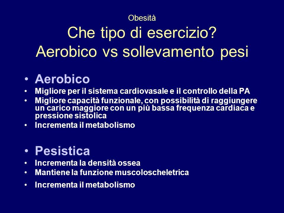 Obesità Che tipo di esercizio Aerobico vs sollevamento pesi