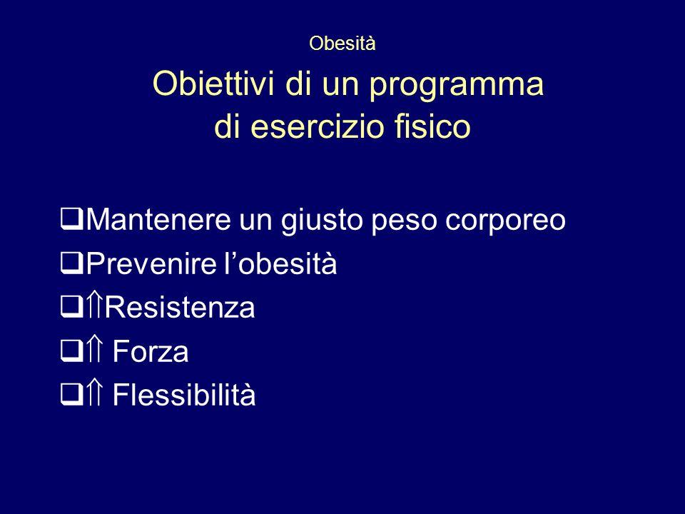 Obesità Obiettivi di un programma di esercizio fisico