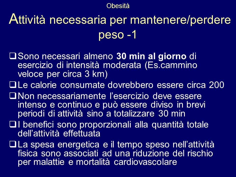 Obesità Attività necessaria per mantenere/perdere peso -1