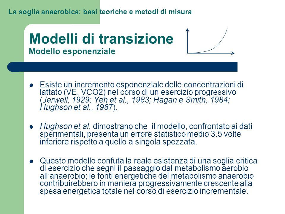 Modelli di transizione Modello esponenziale