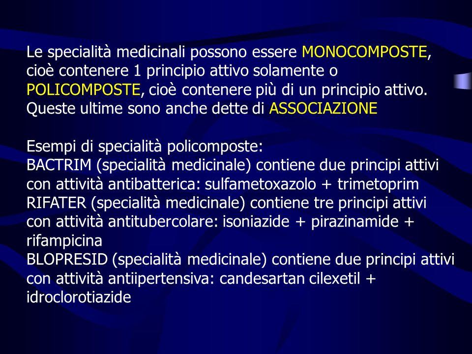 Le specialità medicinali possono essere MONOCOMPOSTE, cioè contenere 1 principio attivo solamente o POLICOMPOSTE, cioè contenere più di un principio attivo. Queste ultime sono anche dette di ASSOCIAZIONE
