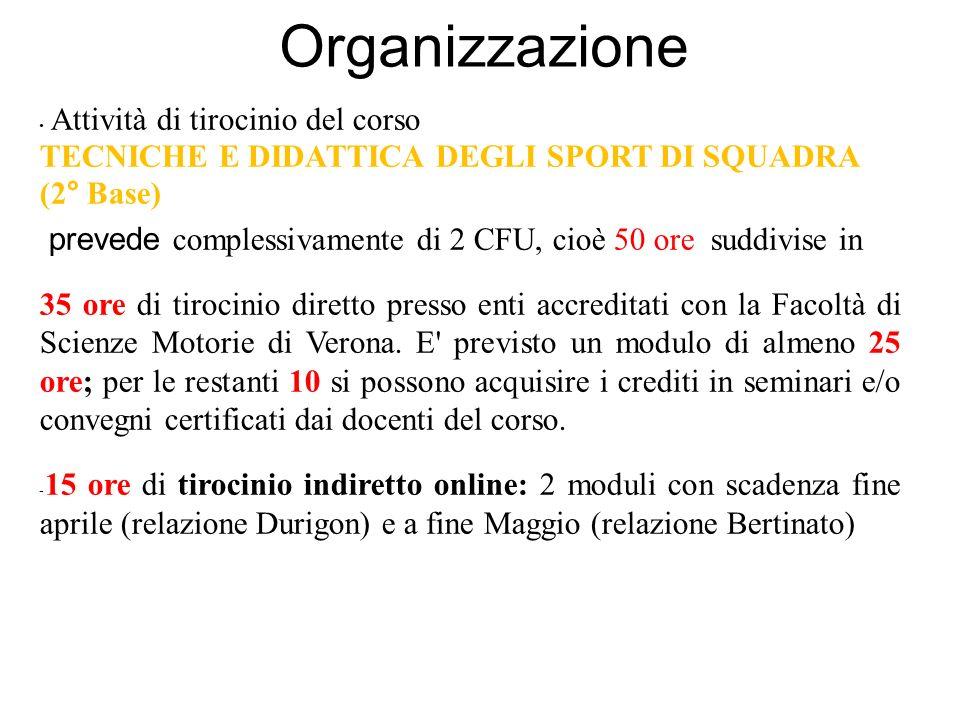 Organizzazione Attività di tirocinio del corso