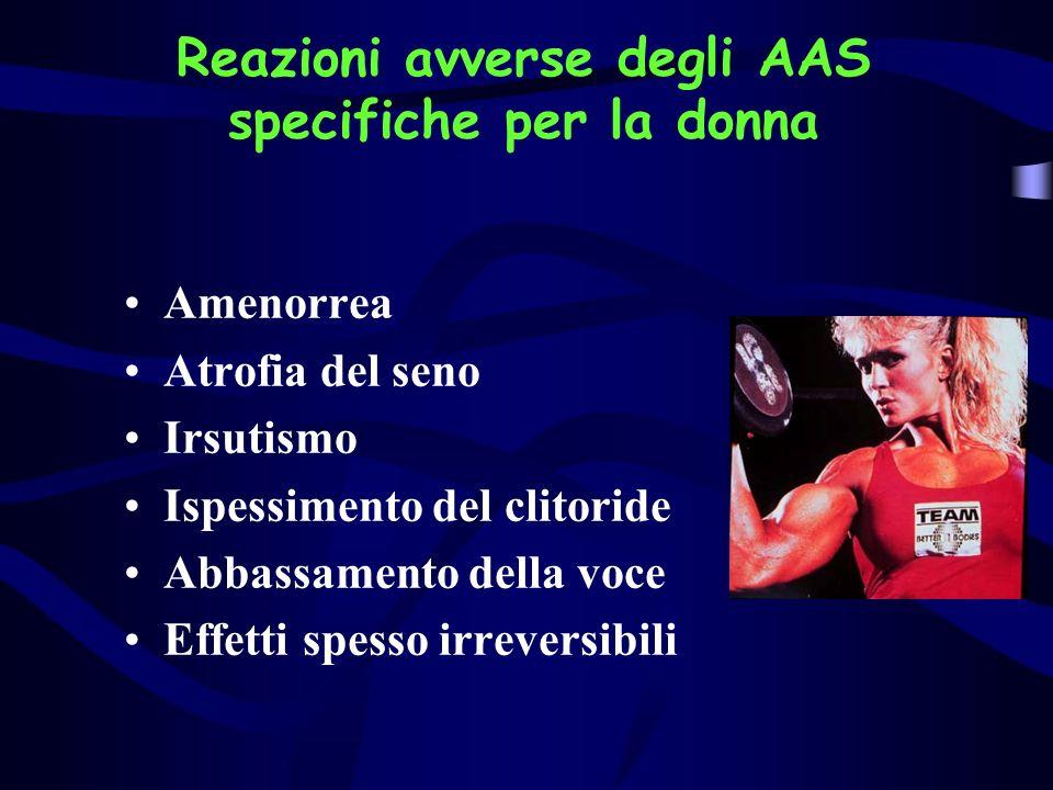 Reazioni avverse degli AAS specifiche per la donna