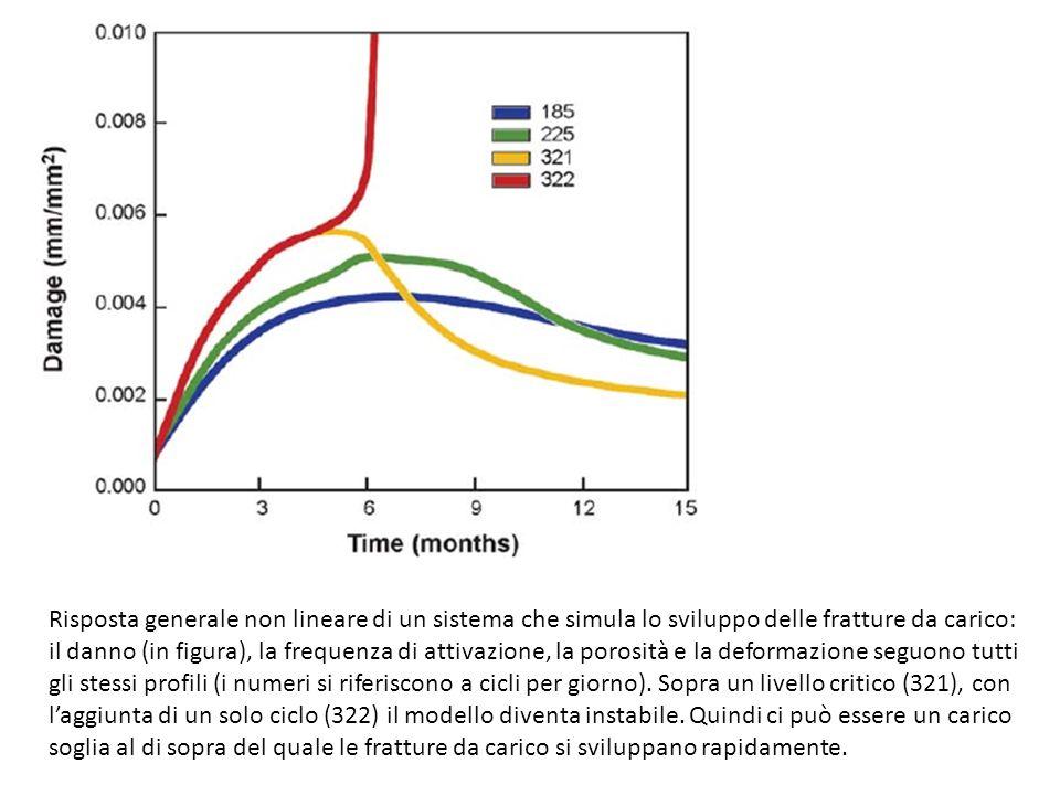 Risposta generale non lineare di un sistema che simula lo sviluppo delle fratture da carico: il danno (in figura), la frequenza di attivazione, la porosità e la deformazione seguono tutti gli stessi profili (i numeri si riferiscono a cicli per giorno).