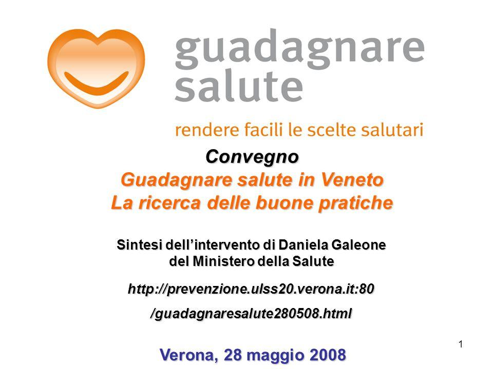 Convegno Guadagnare salute in Veneto La ricerca delle buone pratiche