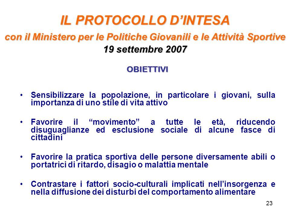 IL PROTOCOLLO D'INTESA con il Ministero per le Politiche Giovanili e le Attività Sportive 19 settembre 2007