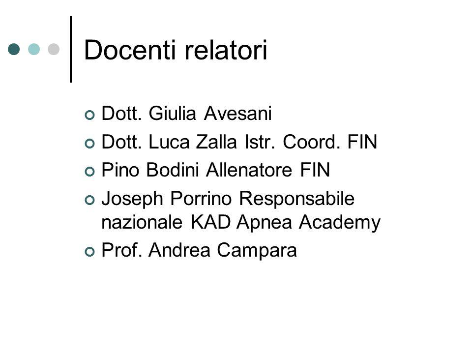 Docenti relatori Dott. Giulia Avesani