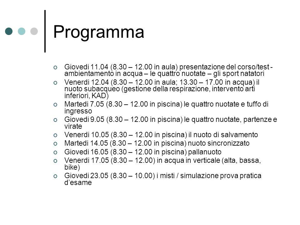 Programma Giovedi 11.04 (8.30 – 12.00 in aula) presentazione del corso/test - ambientamento in acqua – le quattro nuotate – gli sport natatori.