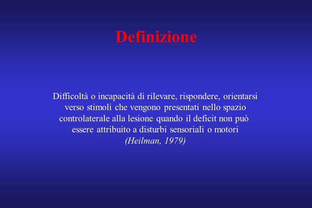 Definizione Difficoltà o incapacità di rilevare, rispondere, orientarsi. verso stimoli che vengono presentati nello spazio.
