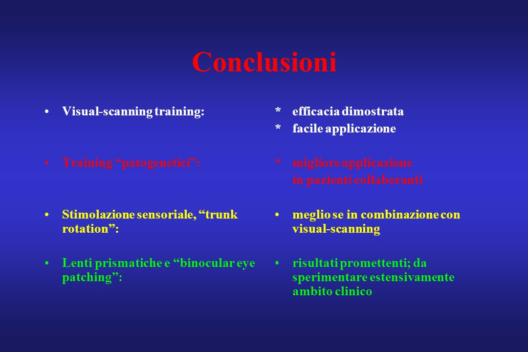 Conclusioni Visual-scanning training: Training patogenetici :