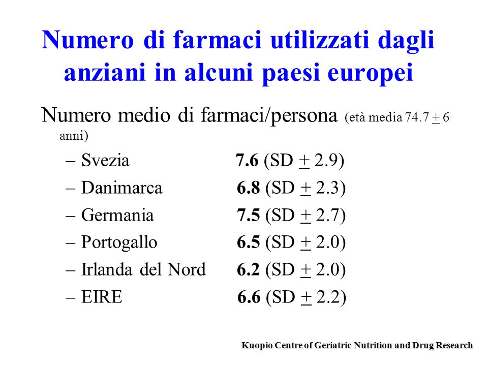 Numero di farmaci utilizzati dagli anziani in alcuni paesi europei