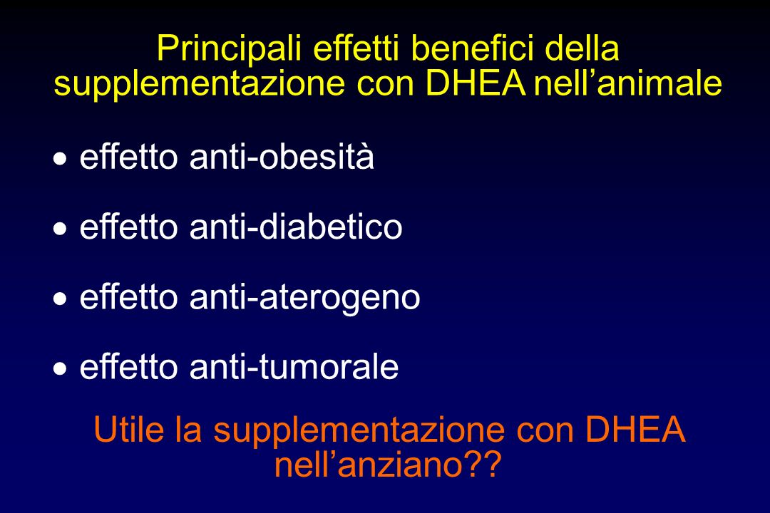 Utile la supplementazione con DHEA nell'anziano