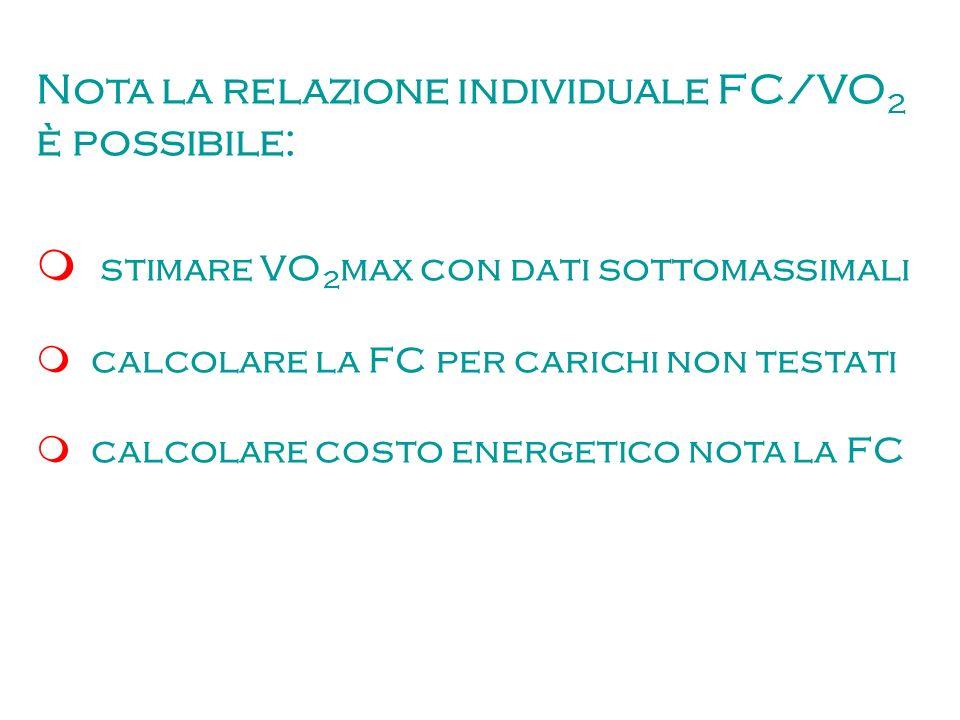 Nota la relazione individuale FC/VO2 è possibile: