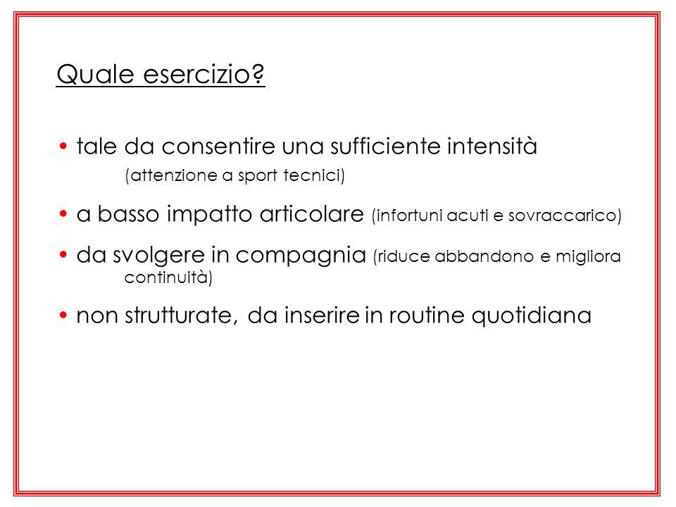Quale esercizio tale da consentire una sufficiente intensità (attenzione a sport tecnici)
