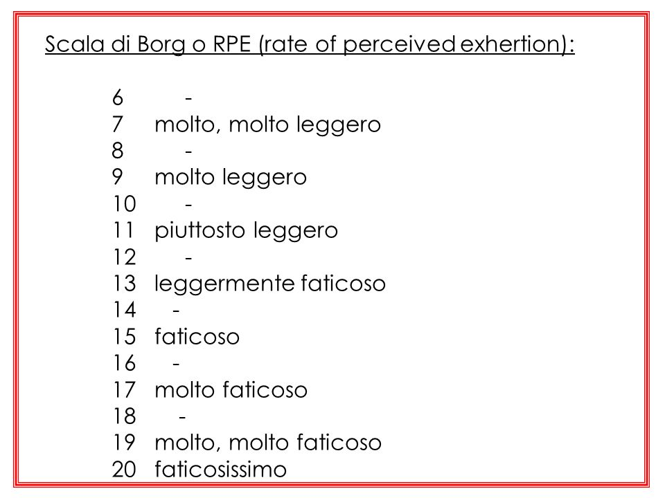 Scala di Borg o RPE (rate of perceived exhertion):