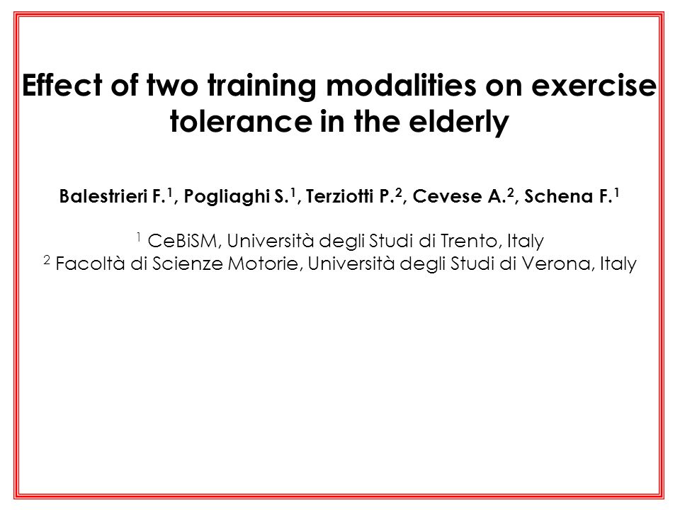 Effect of two training modalities on exercise tolerance in the elderly