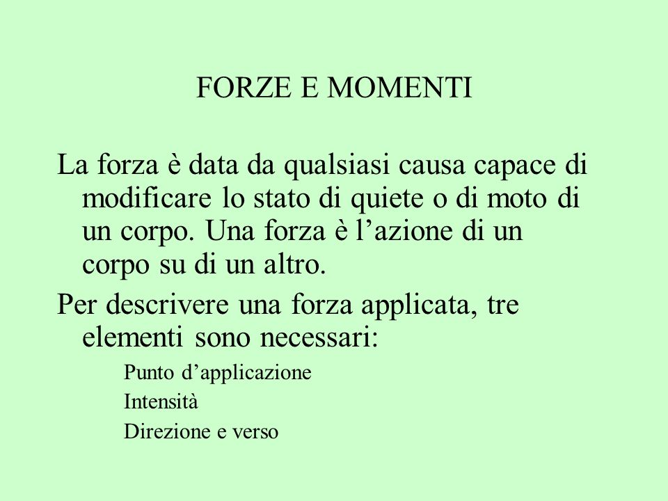 Per descrivere una forza applicata, tre elementi sono necessari:
