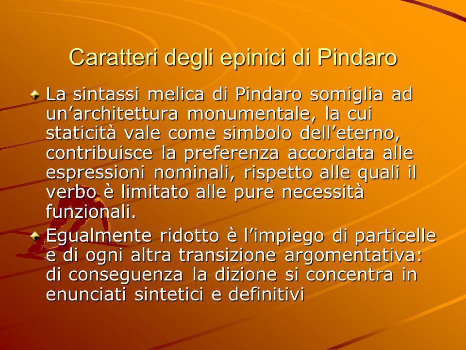Caratteri degli epinici di Pindaro