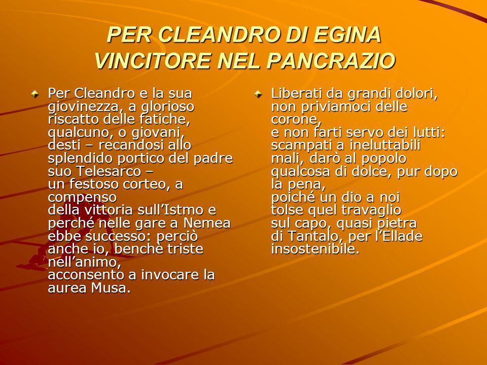 PER CLEANDRO DI EGINA VINCITORE NEL PANCRAZIO