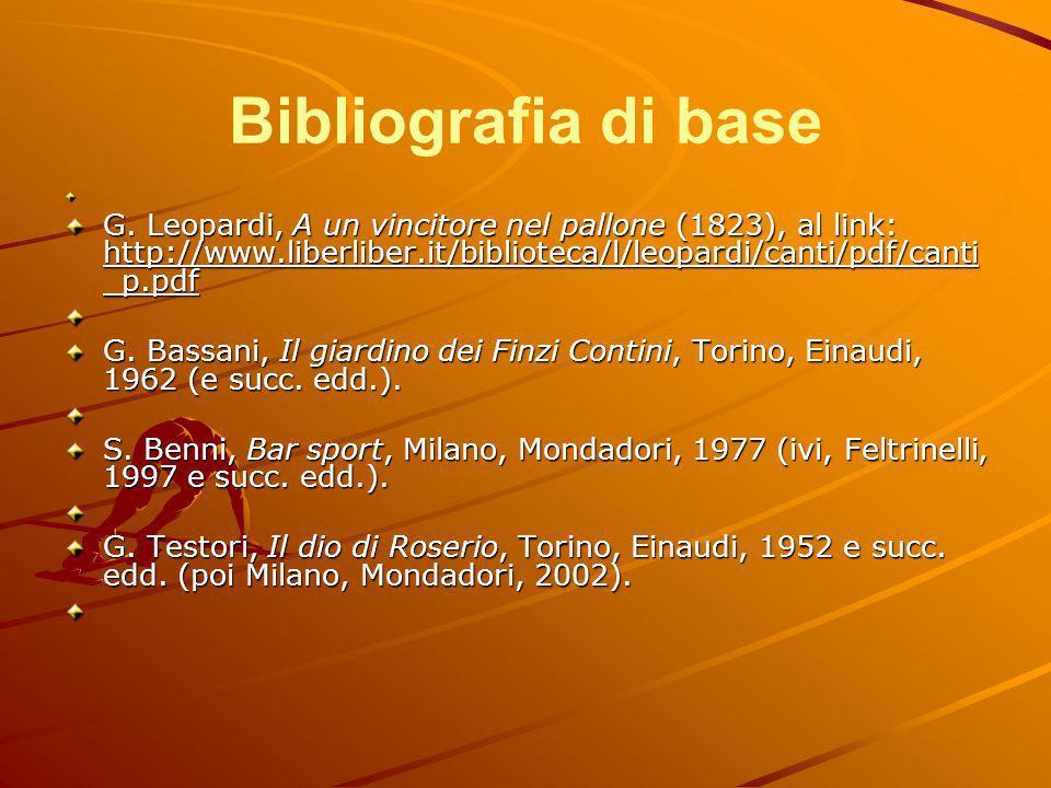 Bibliografia di base G. Leopardi, A un vincitore nel pallone (1823), al link: http://www.liberliber.it/biblioteca/l/leopardi/canti/pdf/canti_p.pdf.