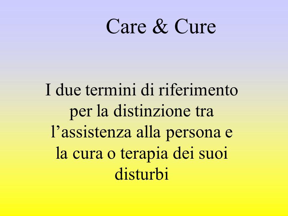 Care & Cure I due termini di riferimento per la distinzione tra l'assistenza alla persona e la cura o terapia dei suoi disturbi.