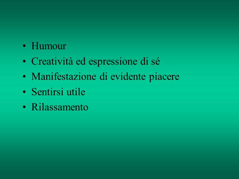 Humour Creatività ed espressione di sé. Manifestazione di evidente piacere.