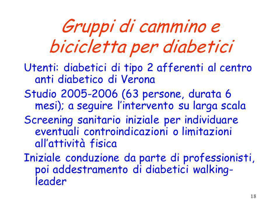 Gruppi di cammino e bicicletta per diabetici