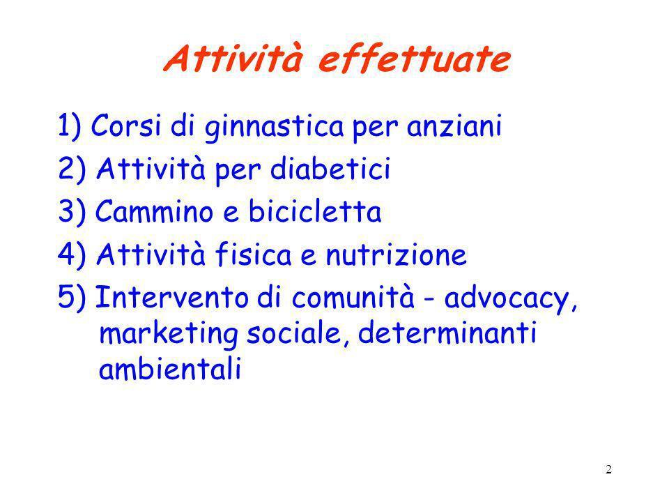 Attività effettuate 1) Corsi di ginnastica per anziani